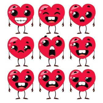 Conjunto de corações com pernas e emoções ilustrações engraçadas de crianças. ilustração em vetor