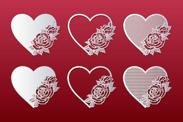 Conjunto de corações cortados a laser com padrão de rosas. molduras com rosas.