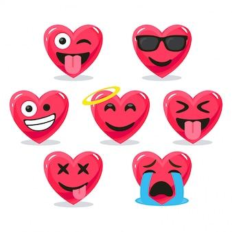 Conjunto de corações de emoticon bonito dos desenhos animados