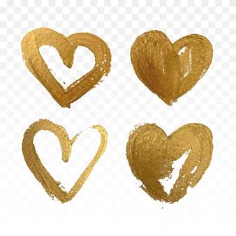 Conjunto de corações de glitter dourados. ilustração vetorial