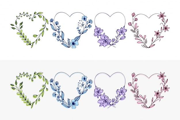 Conjunto de corações de grinalda de mão desenhada com flores estilizadas