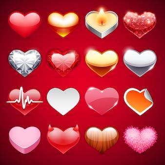 Conjunto de corações de ícones vetoriais