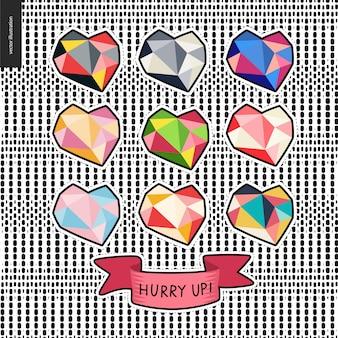 Conjunto de corações de mão desenhada de patches