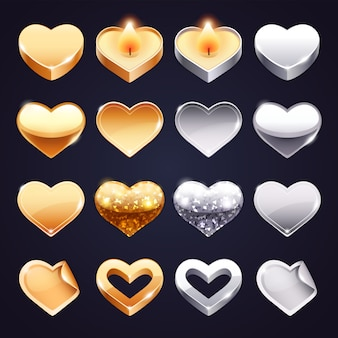 Conjunto de corações de ouro e prata de vetor