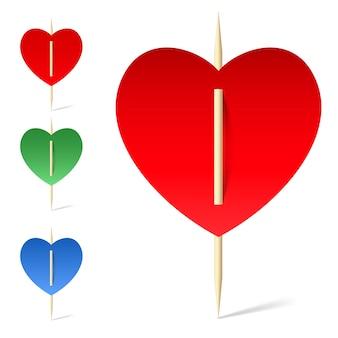 Conjunto de corações de papel em palitos
