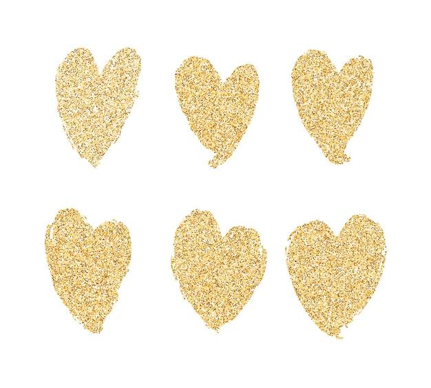 Conjunto de corações de tinta dourada vetorial