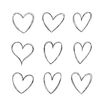 Conjunto de corações de vetor desenhado à mão Vetor Premium