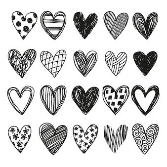 Conjunto de corações de vetor simples desenhados à mão em estilo doodle
