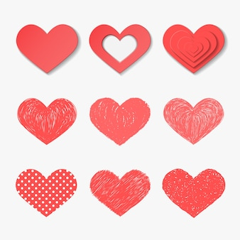 Conjunto de corações de vetor.