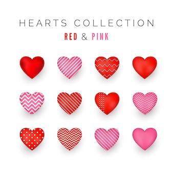 Conjunto de corações decorativos vermelhos e rosa com sombra