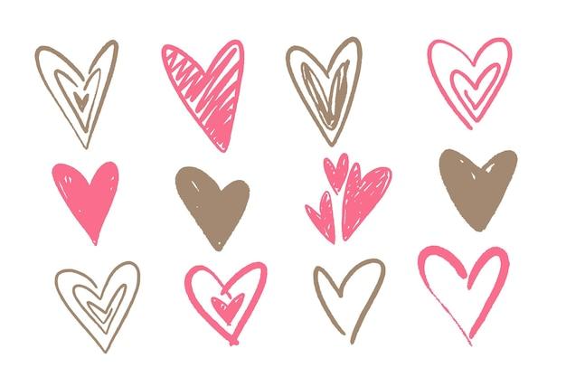 Conjunto de corações desenhados à mão