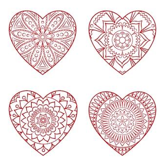 Conjunto de corações doodle