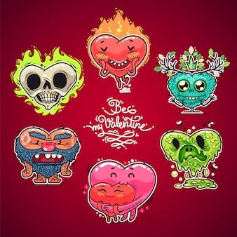 Conjunto de corações dos namorados dos desenhos animados