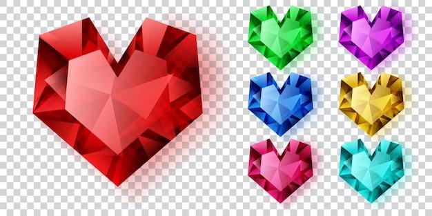 Conjunto de corações em várias cores feitos de cristais