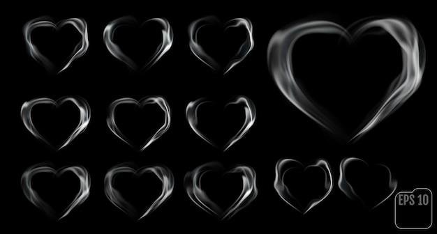Conjunto de corações feitos de fumaça.