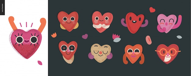 Conjunto de corações felizes