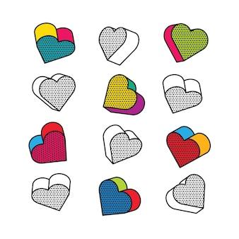 Conjunto de corações isométricos, 3d no estilo pop art.