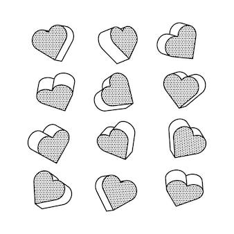 Conjunto de corações isométricos em 3d no estilo pop art,