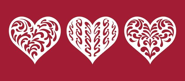 Conjunto de corações, modelos para corte a laser.