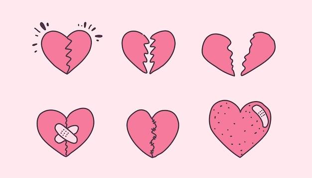 Conjunto de corações partidos