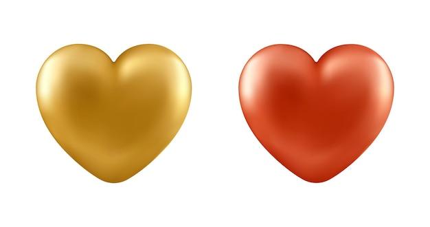 Conjunto de corações realistas, isolado no fundo branco. elementos de design decorativo para dia dos namorados, cartão de amor, casamento.