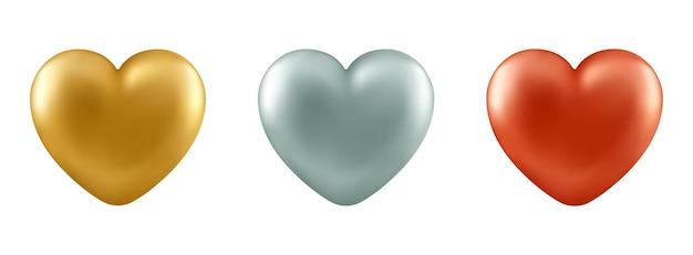 Conjunto de corações realistas vetoriais isolados