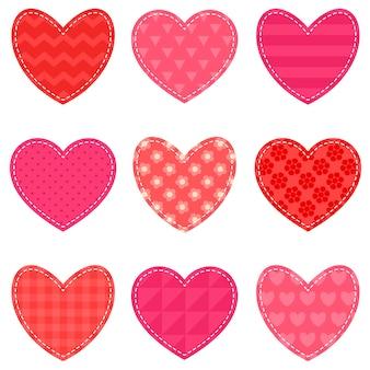 Conjunto de corações texturizados