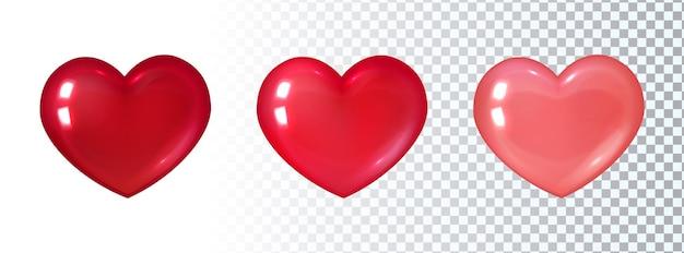 Conjunto de corações vermelhos 3d. Vetor Premium