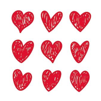 Conjunto de corações vermelhos de vetor para seu design exclusivo