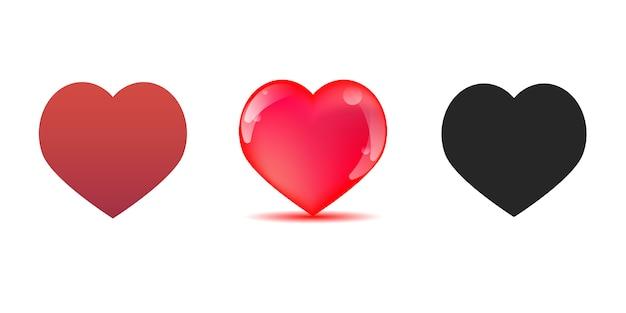 Conjunto de corações vermelhos e pretos, isolados na ilustração vetorial branco