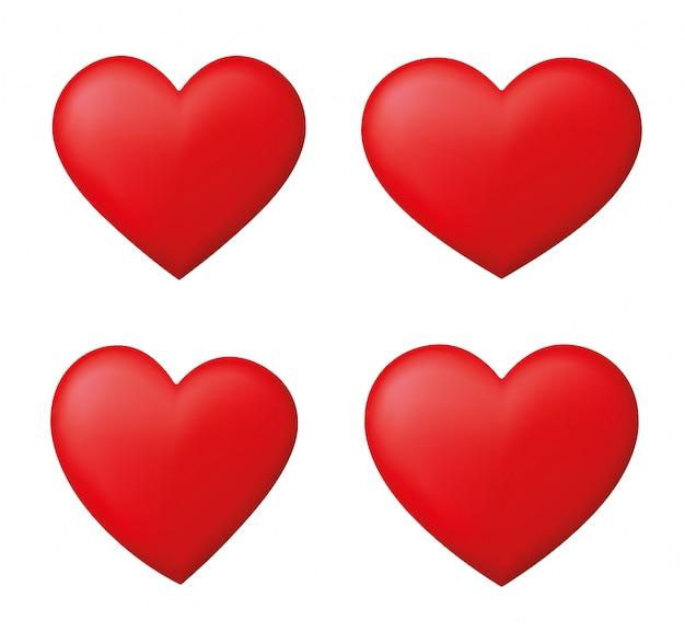 Conjunto de corações vermelhos perfeitos