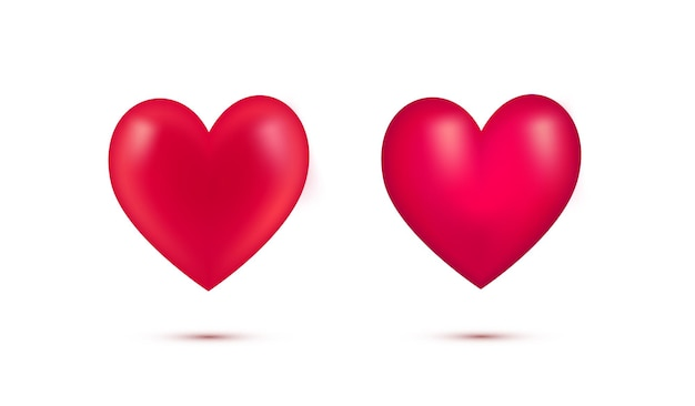 Conjunto de corações vermelhos realistas dos namorados com coração shadow.3d isolado no fundo branco. simbol de love.element para cartão de felicitações no dia dos namorados, dia das mães, casamento, eu te amo. ilustração vetorial.
