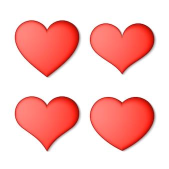 Conjunto de corações vermelhos