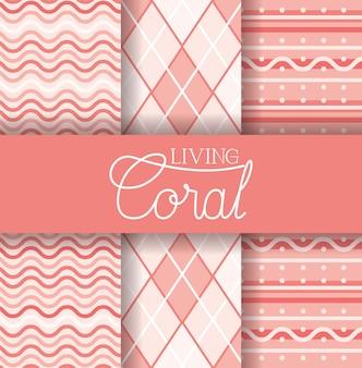 Conjunto de coral vivo sem costura padrão