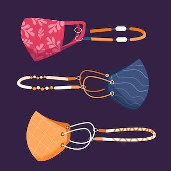 Conjunto de cordão de máscara facial da moda
