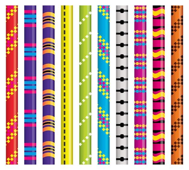 Conjunto de cordas de escalada isolado no branco. ilustração vetorial.