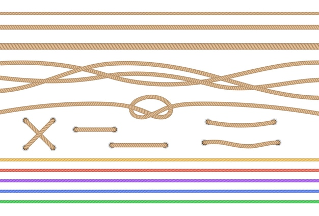 Conjunto de cordas retas isoladas e cordas cruzadas amarradas