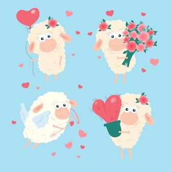 Conjunto de cordeiro bonito dos desenhos animados para dia dos namorados