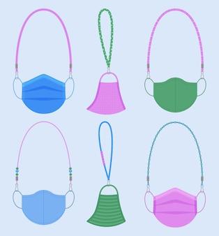Conjunto de cordões de máscaras faciais diferentes