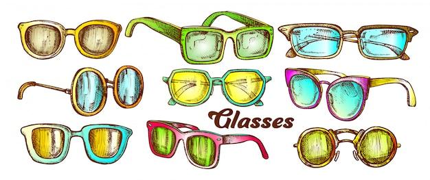 Conjunto de cores de acessórios de moda de óculos