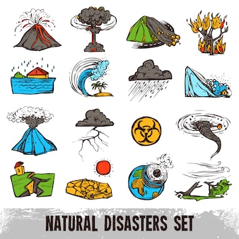 Conjunto de cores de desastres naturais