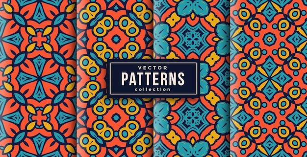 Conjunto de cores de estilo de ornamento padrão de quatro. fundo transparente pronto para imprimir