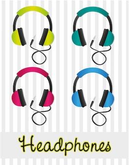 Conjunto de cores de fones de ouvido em linhas de fundo cinza