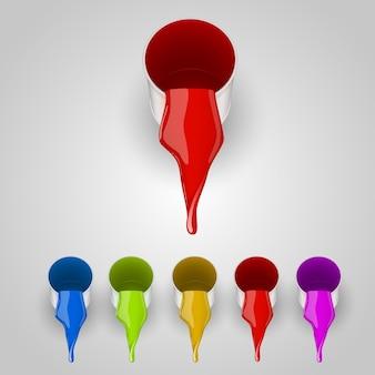 Conjunto de cores de lata de tinta