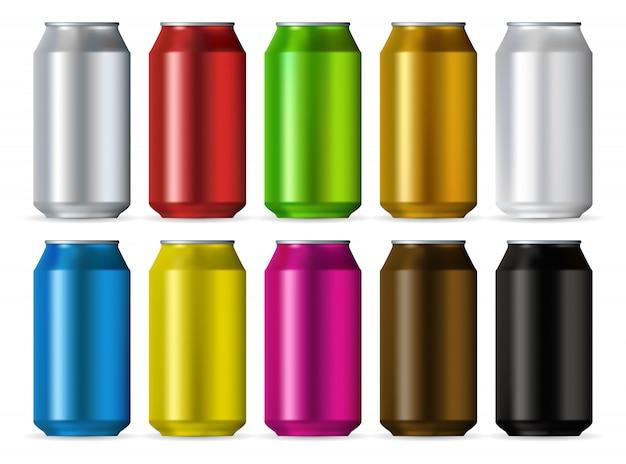 Conjunto de cores de latas de alumínio