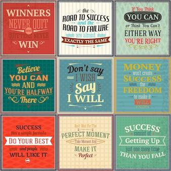 Conjunto de cores de quotes de sucesso