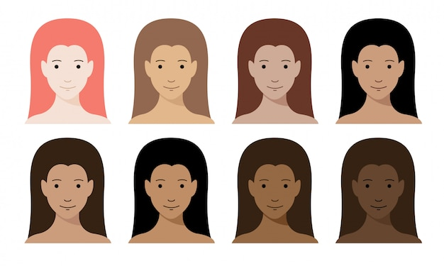 Conjunto de cores de tom de pele de mulheres. personagens de menina