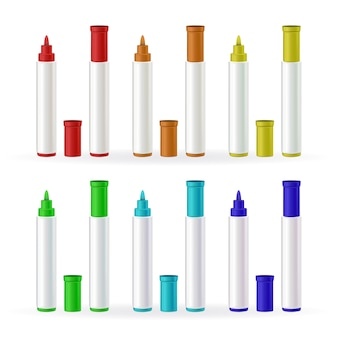 Conjunto de cores diferentes de canetas marcadoras para papelaria
