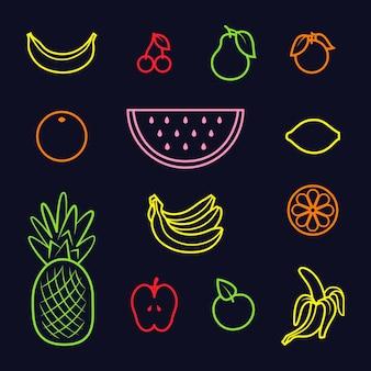 Conjunto de cores diferentes de ícones de frutas em fundo preto. ilustração vetorial
