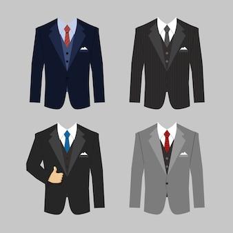 Conjunto de cores diferentes de vetor de ternos de roupas de negócios